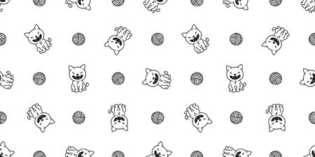 cat seamless pattern kitten vector scarf background wallpaper isolated