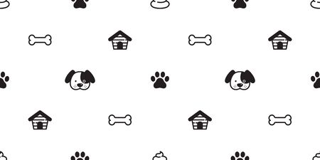 Dog Paw seamless pattern vector french bulldog footprint poo puppy house tile background repeat wallpaper scarf isolated illustration cartoon