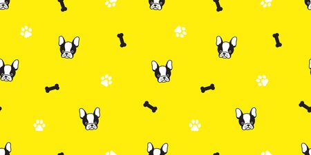 dog Seamless pattern vector french bulldog pug bone paw tile background repeat wallpaper isolated yellow