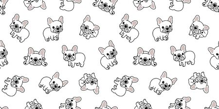 Dog seamless pattern french bulldog vector repeat background tile wallpaper isolated cartoon white