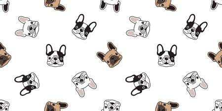 Dog seamless pattern vector french bulldog tile background scarf isolated repeat wallpaper illustration cartoon dog breed