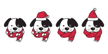 dog vector Christmas french bulldog Santa Claus hat Xmas polka dot scarf icon puppy head cartoon character  illustration Иллюстрация
