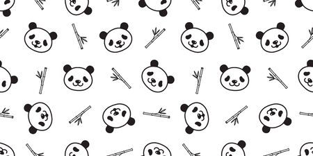 bear seamless pattern panda vector polar bear teddy bamboo scarf isolated tile background cartoon repeat wallpaper doodle illustration