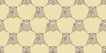 Bear seamless pattern vector Polar Bear ice cream cone cartoon forest wood scarf isolated tile background repeat wallpaper Иллюстрация