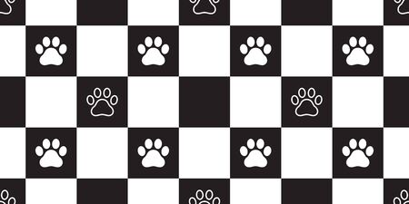 dog paw seamless pattern vector chacked isolated french bulldog cat footprint scarf repeat wallpaper tile background gift wrap Фото со стока - 129603584