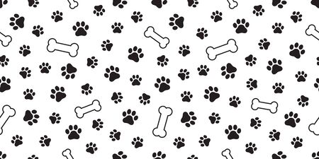 dog paw seamless pattern vector french bulldog dog bone tile background scarf isolated wallpaper repeat