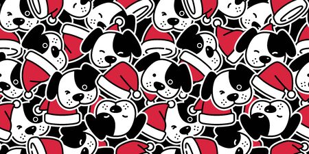Dog seamless pattern Christmas vector Santa Claus hat french bulldog puppy head bone scarf isolated cartoon illustration repeat wallpaper tile background Иллюстрация
