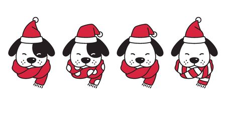 dog vector Christmas french bulldog Santa Claus hat Xmas polka dot stripes scarf icon puppy head cartoon character  illustration