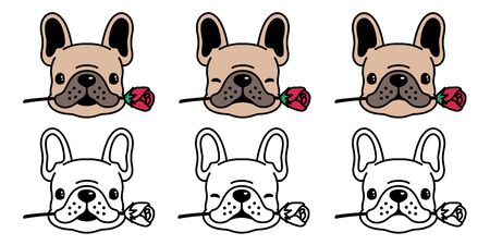 dog vector french bulldog icon  rose flower valentine cartoon character illustration symbol doodle brown