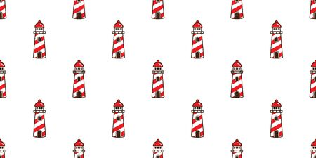 lighthouse Seamless Pattern vector helm Anchor maritime Nautical tropical boat isolated background wallpaper repeat Иллюстрация