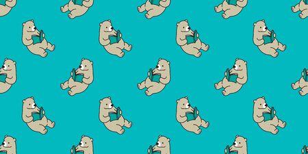 bear seamless pattern vector polar bear panda teddy reading book isolated background green Ilustracja