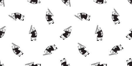 Bear seamless pattern Polar Bear vector baseball sport scarf isolated till background repeat wallpaper