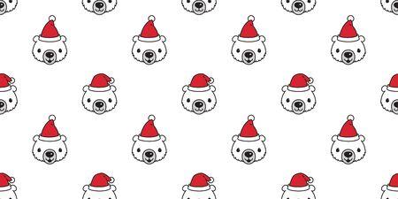 Bear seamless pattern vector Christmas polar bear Santa Claus hat scarf isolated cartoon illustration repeat wallpaper tile background