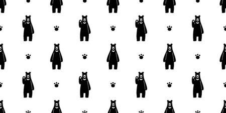 Bear seamless pattern vector polar bear paw footprint cartoon illustration tile background repeat wallpaper scarf isolated