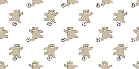 Bear seamless pattern vector polar Bear soccer football cartoon scarf isolated tile background repeat wallpaper illustration