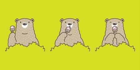 Bear vector Polar Bear ice cream character cartoon icon  illustration doodle
