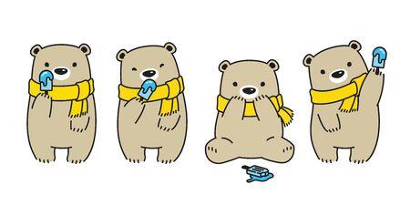 Bear vector Polar Bear ice cream character cartoon scarf illustration icon  doodle