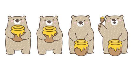 Bear vector Polar Bear icon  honey bee cartoon character illustration doodle brown Banque d'images - 129948889