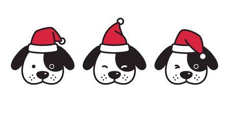 dog vector Christmas french bulldog Santa Claus hat Xmas icon puppy head cartoon character illustration Ilustração