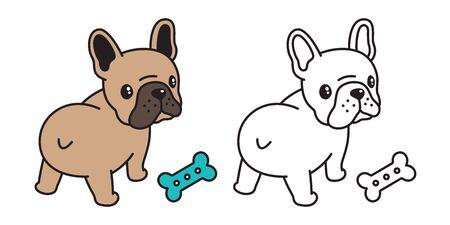 dog vector french bulldog icon bone food toy cartoon character illustration symbol brown Ilustração