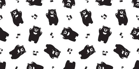 Bear seamless pattern vector Polar Bear singing song music note dancing cartoon scarf isolated tile background repeat wallpaper gift wrap black