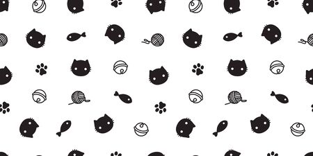 cat seamless pattern kitten vector paw cat toy scarf isolated repeat background wallpaper  イラスト・ベクター素材