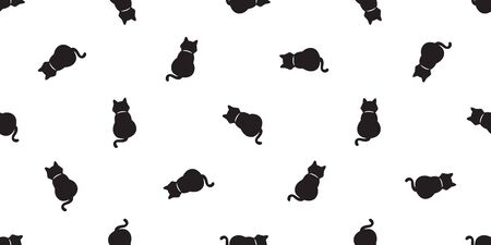 cat Seamless Pattern vector kitten calico scarf isolated tile background halloween repeat wallpaper