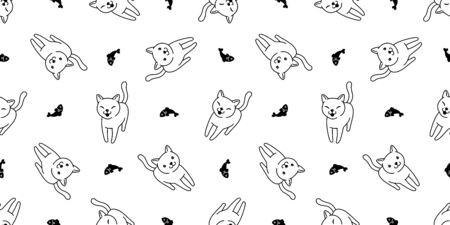 cat Seamless pattern vector kitten salmon fish calico cartoon scarf isolated tile background repeat wallpaper doodle illustration
