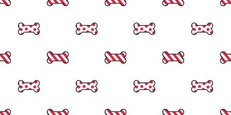 Dog bone seamless pattern vector Christmas Santa Claus Xmas candy cane dog paw french bulldog scarf isolated repeat wallpaper illustration cartoon tile background white