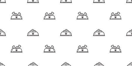 Dog bowl seamless pattern vector paw french bulldog dog food bone cartoon scarf isolated repeat wallpaper tile background Ilustração