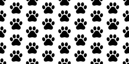 dog paw seamless pattern footprint vector french bulldog tile background repeat wallpaper scarf isolated white  イラスト・ベクター素材
