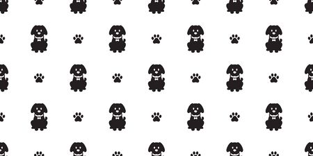 Dog seamless pattern Paw vector french bulldog footprint puppy tile background repeat wallpaper scarf isolated cartoon illustration
