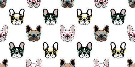 Dog seamless pattern vector french bulldog glasses tile background scarf isolated repeat wallpaper