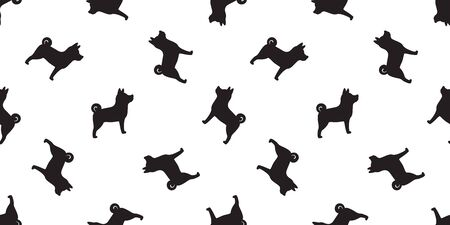 Dog seamless pattern vector isolated paw Shiba Inu Dog Breed wallpaper cartoon tile background