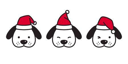 dog vector Christmas french bulldog Santa Claus Xmas icon puppy head cartoon character logo illustration