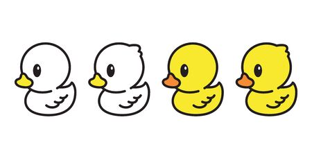 duck vector icon rubber duck cartoon character illustration bird farm animal symbol doodle Stock Illustratie