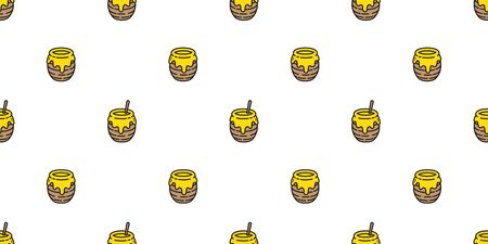honey seamless pattern vector bear bee polar bear bakery bake jam food scarf isolated cartoon illustration tail background repeat wallpaper  イラスト・ベクター素材