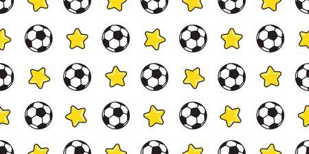 soccer ball seamless pattern vector football star sport isolated tile background wallpaper illustration Stock Illustratie