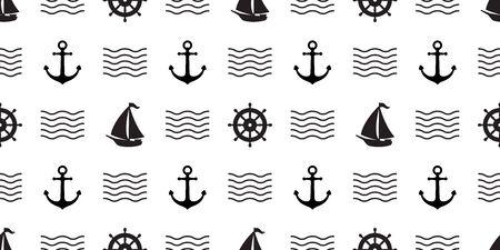 anchor Seamless Pattern vector helm boat pirate nautical maritime wave tropical summer ocean beach tile background scarf isolated repeat wallpaper  イラスト・ベクター素材