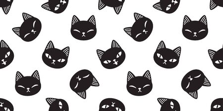 Cat seamless pattern vector kitten calico cartoon illustration tile background scarf isolated repeat wallpaper gift wrap