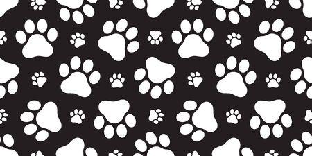 Dog Paw seamless pattern vector footprint kitten puppy tile background repeat wallpaper cartoon isolated illustration black Ilustracja