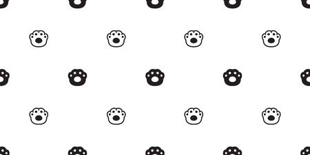 dog paw seamless pattern vector french bulldog cat footprint scarf isolated repeat wallpaper tile background gift wrap Ilustracja