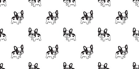 Dog seamless pattern french bulldog vector tile background repeat wallpaper tile scarf isolated illustration black