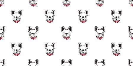 dog seamless pattern vector french bulldog polka dot scarf cartoon character illustration tile background repeat wallpaper