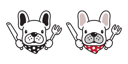 dog vector french bulldog icon logo eating food knife fork scarf cartoon character illustration Ilustracja