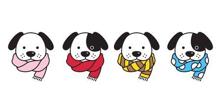 dog vector french bulldog scarf polka dot stripes puppy head cartoon character logo illustration Ilustracja