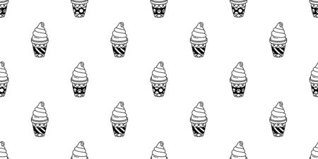 ice cream seamless pattern vector cone polka dot stripe dog paw scarf isolated cartoon illustration repeat wallpaper tile background Фото со стока - 130565931