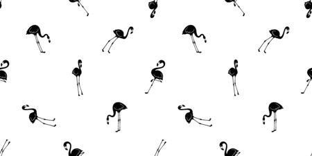 Flamingo seamless pattern vector pink Flamingos exotic bird summer tropical cartoon scarf isolated tile background repeat wallpaper illustration black Иллюстрация