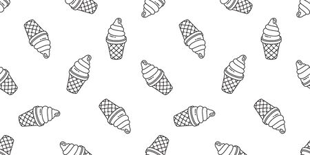 ice cream seamless pattern vector cone chocolate vanilla scarf isolated cartoon illustration repeat wallpaper tile background Фото со стока - 130565999