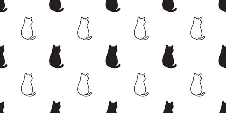 cat Seamless pattern vector kitten calico cartoon scarf isolated halloween tile background repeat wallpaper doodle illustration